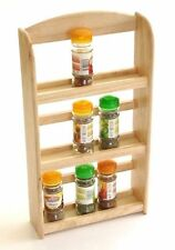 3 Tier Hevea Wood Wooden Herb Spice Rack Jar Holder Stand Wall Mounted Herbs