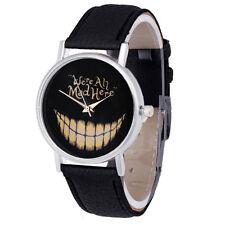 Alice im Wunderland Cheshire Cat wurden alle verrückt hier Quarzuhr Schwarz Armband