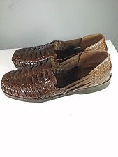 SUNSTEPS HAND WOVEN SHOES CASUAL LOAFERS STYLE BROWN LEATHER SZ 8