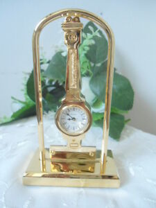 BULOVA Peninsula Collectible Mini Gold Desk Watch Clock Japan Movement SALE