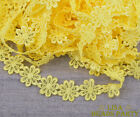 10 Yards Yellow Lace Embroidered Charm Fabric Flower Sewing Applique Trim