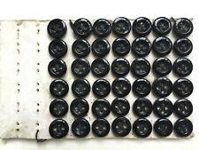 Carte de 42 boutons anciens - Verre noir F. Bapterosses 9 mm