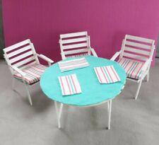 Barbie Gartenmöbel Terassenmöbel Sitzgruppe Tisch + Stühle Vintage 70er Jahre