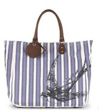 New Juicy Couture Bag Large Blue Stripes Canvas Leather Tote