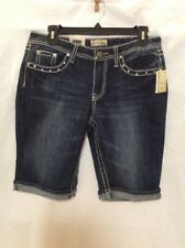 NEW Earl Jean Womens Bermuda Jean  Shorts With Embellishments Size 8 Denim Jean
