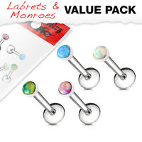 4pc Value Pack Opal Internally Threaded Steel Cartilage Studs Labrets / Monroes