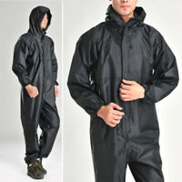 Rain Coat One-piece Motorcycle Waterproof Raincoat Suit Black Jacket 5 Sizes