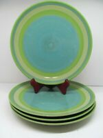 """Gail Pittman Provence Green Banded 11 1/4"""" Dinner Plates Set Of 4 Plates GC"""