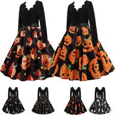 Damen Langarm  A Linie Kleid Swingkleid Retro Kleider Halloween Kostüm Karneval