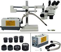 OMAX 2X-270X Dual_bar Boom Zoom Stereo Trinocular Microscope+Dual Fiber Light