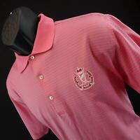 Mens Peter Millar Pink Striped Athletic Short Sleeve Golf Polo Shirt Size Medium