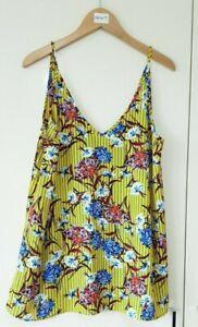 Papaya Women's Top Size 12 Yellow Floral Vest Stripe Cami High Neck Summer Light