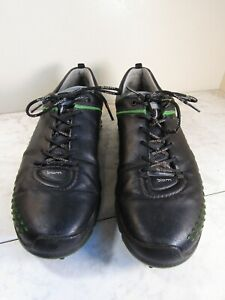 ECCO Biom Hybrid Natural Motion Spiked Men's Black/Green Leather GOLF Shoes 44