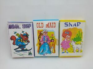 Vintage Lot Of 3 Children's Card Games Animal Snap, Snap, Old Maid