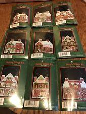 9 Cross Stitch Kits Santa's Village Cross My Heart Retired Christmas Vinyl Weave