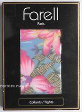 Collants BLEU vert FLEURS - Taille 2 - 80 D - FARELL pour femme flower NEUF #C14