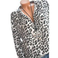 Womens Leopard Printed T-Shirt Casual Shirt Summer Long Sleeve Loose Tops Blouse