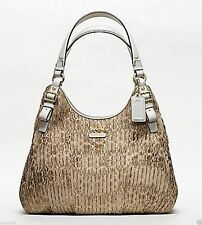 NWT WOMEN'S COACH MADISON GATHERED SIGNATURE MAGGIE HAND BAG F18886 RETAIL $358