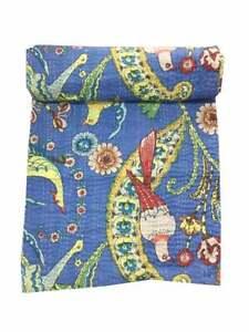 Indian Kantha Quilt Handmade Bedding Quilt Cotton Kantha Bed Cover Queen Size