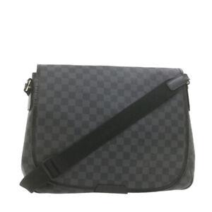 LOUIS VUITTON Damier Graphite Daniel MM Shoulder Bag N58029 LV Auth 21738