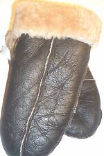 NEW! REAL LEATHER SHEEPSKIN SHEARLING MITTENS MITTS GLOVES THICK& WARM