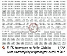 Peddinghaus 1/72 German Police and Waffen-SS License Plates WWII [Decal] 1052