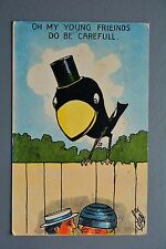 R&L Postcard: Beat Series Comic, Do Be Careful Top Hat Bird on Fence