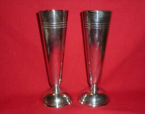 Pair of Vintage Solid Silver Vases by Walker & Hall, assayed Sheffield 1953