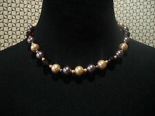 KENNETH J LANE Necklace 2 Tone Faux Pearls & Faceted Beads Free Ship