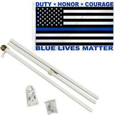 6 ft Flag Pole Kit Thin Blue Line Usa Blue Lives Matter Duty Honor + 3x5 Flag