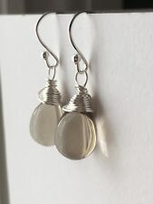 Light Grey Drop Sterling Silver Earrings. Briolette Drop Earrings. Gift For Her