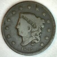 1835 Coronet Head US Large Cent Copper Coin VG Very Good Grade 1c US Penny Coin
