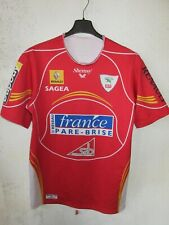 Maillot ESG rugby GIMONT porté n°1 moulant home shirt rouge Shemsy XL