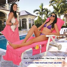 Beach Towels with Pockets Sunlounger Bag Sun Bed Cover Swimming Pool Travel Gift