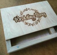 Wedding Picture Photo Album Wood Box 100 Photos Storage Case 4x6 Memory