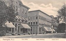 c.1905 Post Office Bank Building & Union Hotel Main St.? Flemington NJ post card