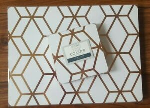 SET 4 WHITE COPPER ROSE GOLD GEO GEOMETRIC TABLE PLACEMATS & COASTERS PLACE MATS