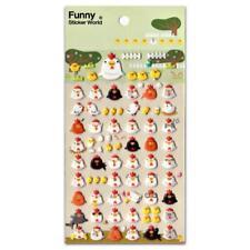 CUTE CHICKEN STICKERS Chick Hen Sheet Farm Animal Puffy Vinyl Craft Scrapbook