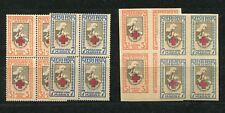 ESTONIA 1921 RED CROSS ISSUE SCOTT B5-B8 LOVELY MNH BLOCKS OF 4