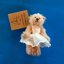 """Deb Canham """"Peaches"""" Miniature Mohair Bear With White Lacy Dress-Jointed"""