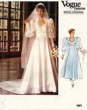 1980's VTG VOGUE Bridal Original Bridal Gown and Petticoat Pattern 1091 12 UNC