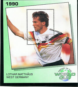 BHUTAN 1990 ITALY FOOTBALL WORLD CUP MINIATURE SHEET MATTHAUS WEST GERMANY MNH