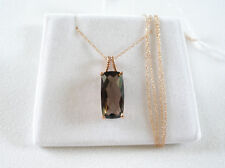4.75 Ct. Smokey Topaz Solitaire  10K ROSE Gold Pendant & Necklace