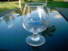 "ROMANA SAMBVCA  STEMMED WINE GLASS  5 ""  NICE REPLACEMENT BLUE LOGO ITEM"