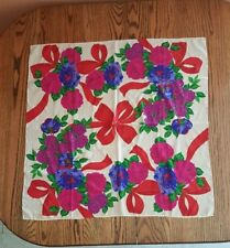 """Liz Claiborne - Red Ribbons and Roses Scarf - 30 1/2"""" Square - Beautiful !"""