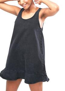 NEW MONKI  FLIP RUFFLE HEM DENIM DRESS  XS 2 6  $120 WOMEN BLACK ASOS