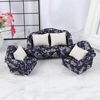 1:12 Dollhouse Miniature Wooden Floral Sofa Cushions Kit Dollhouse Furniture Jf