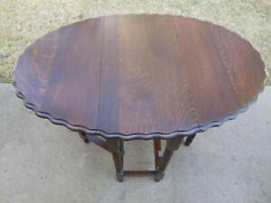 Wonderful Solid Dark Oak Double Drop Leaf Gate Leg Barley Twist Table F/England