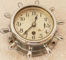"Antique 1950's Chelsea ""Manhattan"" Chrome Ships Wheel Nautical Boat Clock"