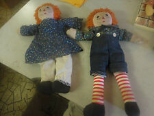 Vintage Raggedy Ann and Raggedy Andy Dolls 20'' Tall Each One!